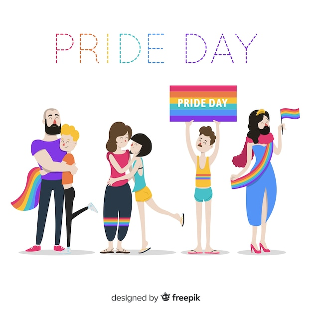 Pride day people Free Vector