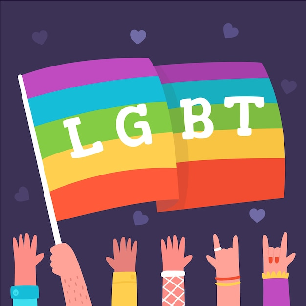 Pride day rainbow flag illustrated Free Vector