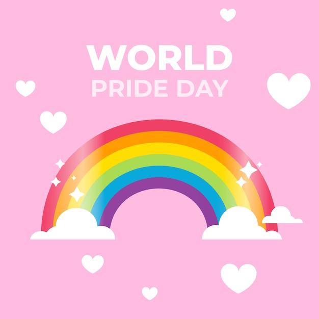 Pride day rainbow flag Free Vector