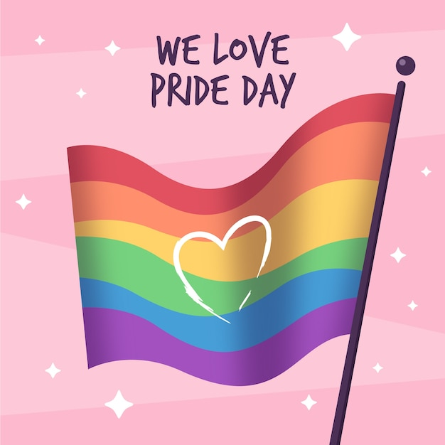 Pride day rainbow flag Free Vector