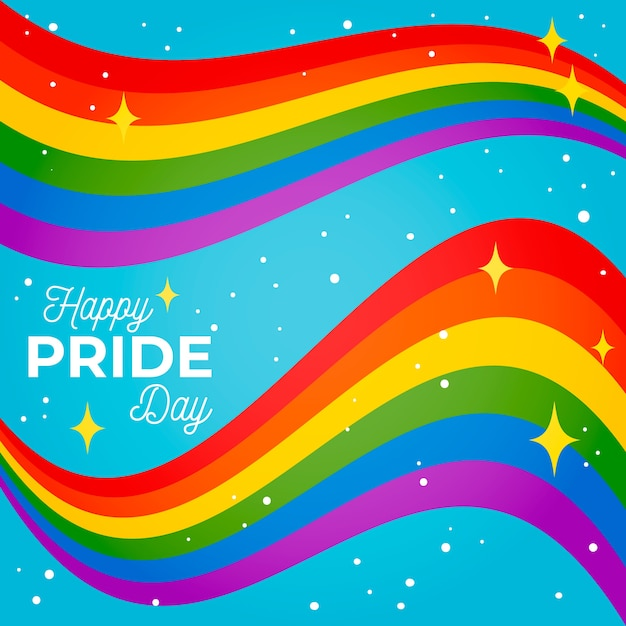 Pride day shiny flag ribbon on blue background Free Vector