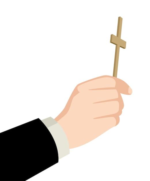 Priest hand holding holy cross Premium Vector