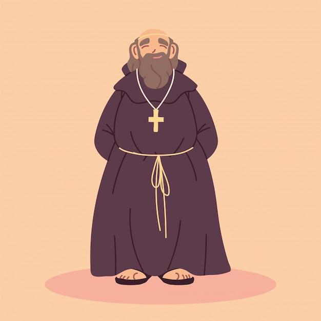 Священник или монах в коричневом платье с капюшоном Premium векторы
