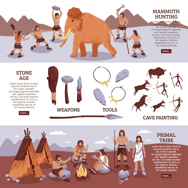 Primal tribe people banners set Free Vector