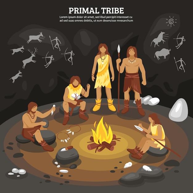 Illustrazione della gente della tribù primitiva Vettore gratuito