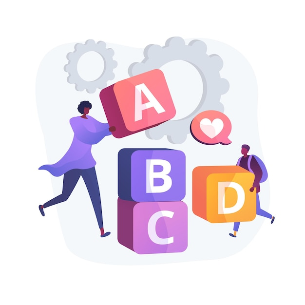 Primary school education. developing games, entertaining study, elementary grade. little schoolboy and educator playing with abc blocks. Free Vector