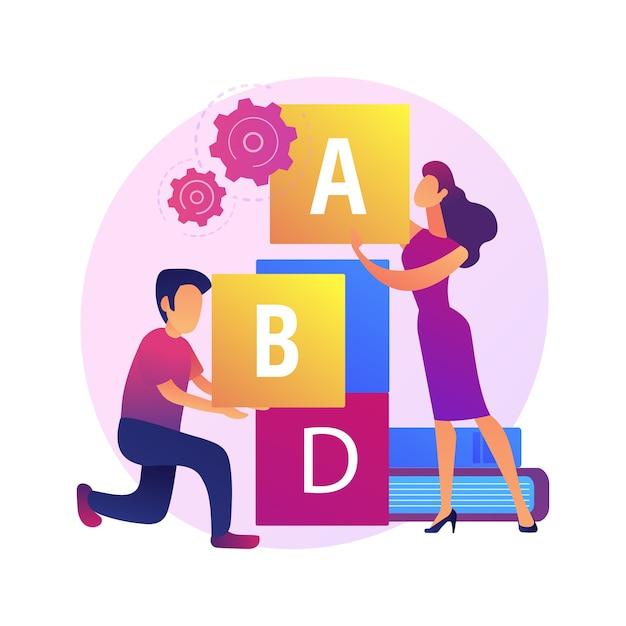 Istruzione primaria. sviluppo di giochi, studio divertente, elementare. piccolo scolaro ed educatore che giocano con i blocchi abc. Vettore gratuito