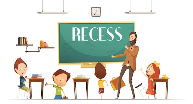 Primary school teacher announcing lunch and recess break time for children to eat retro cartoon vect Free Vector