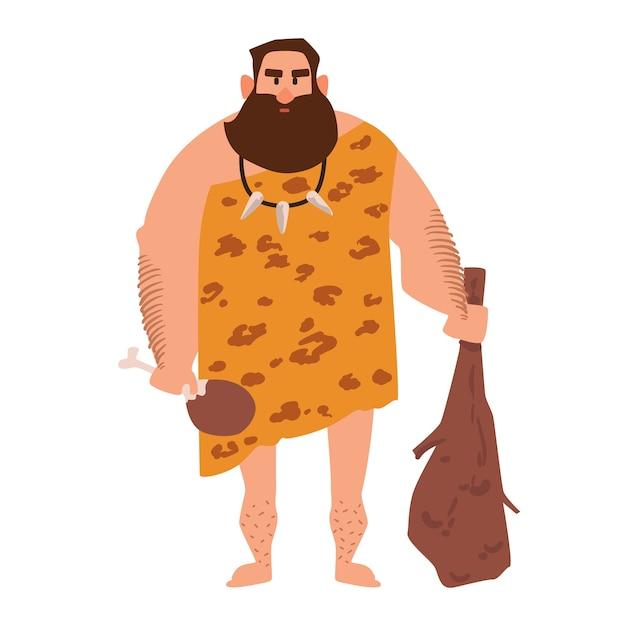 動物の皮で作られた服を着た、原始的な古風な男。石器時代の穴居人 Premiumベクター