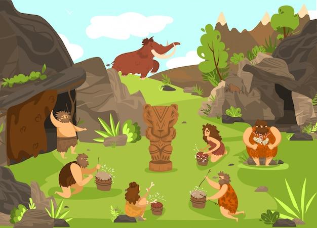 原始人の洞窟とトーテム動物、石器時代の古代の穴居人の前に先史時代の漫画イラスト。 Premiumベクター