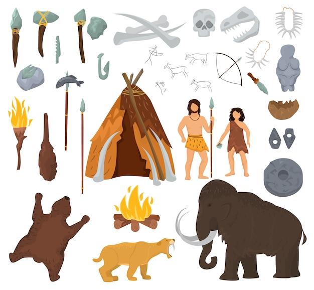 原始的な人々は石器時代の洞窟の図にマンモスと古代の穴居人のキャラクターをベクトルします。 Premiumベクター