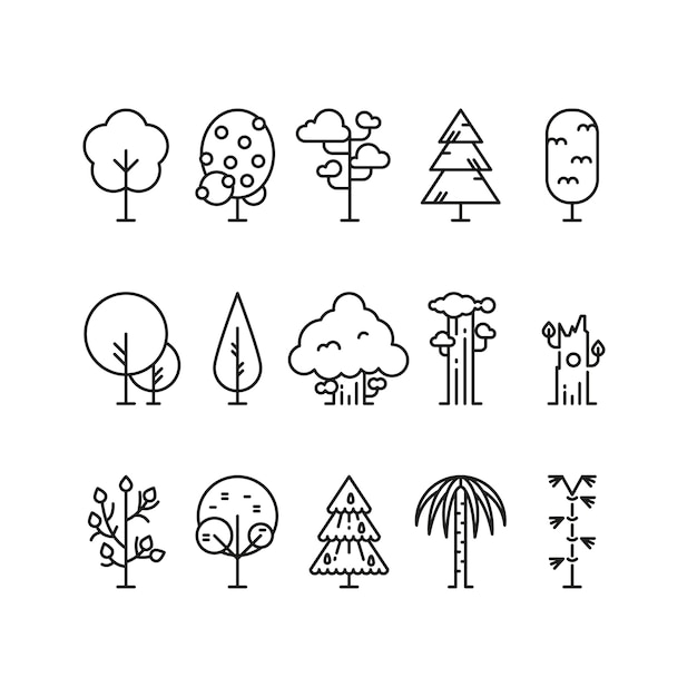 Primitive simple contour line trees. Premium Vector