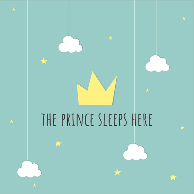 Prince baby card Free Vector
