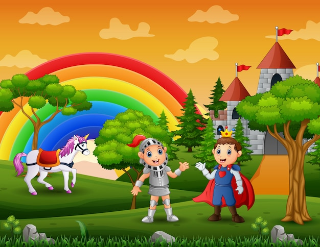 Prince and knight outdoors with a castle background Premium Vector