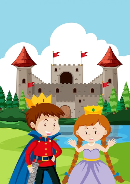 Prince and princes at the castle Premium Vector