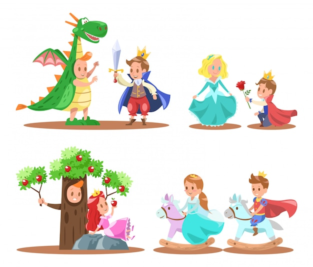 Prince and princess character design Premium Vector