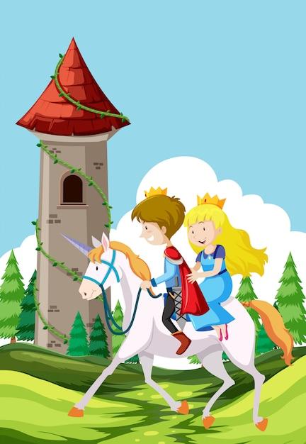 Prince and princess riding a horse Free Vector