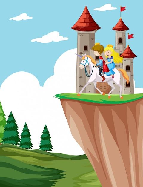 Prince and princess riding horse Free Vector
