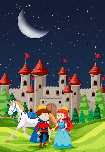Prince and princess with a castle Premium Vector