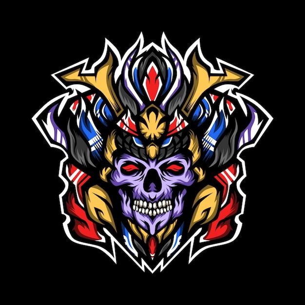 Prince of samurai skulls illustration Premium Vector
