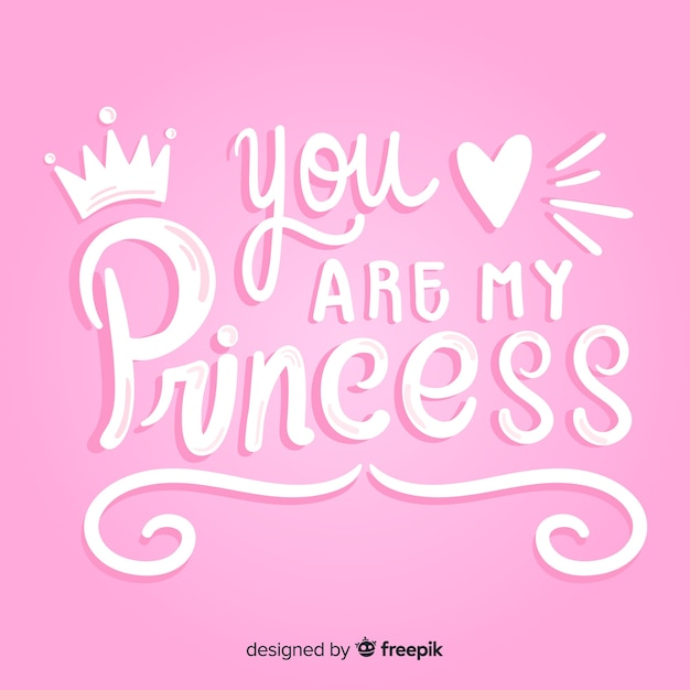 Princess calligraphic hand drawn background Free Vector
