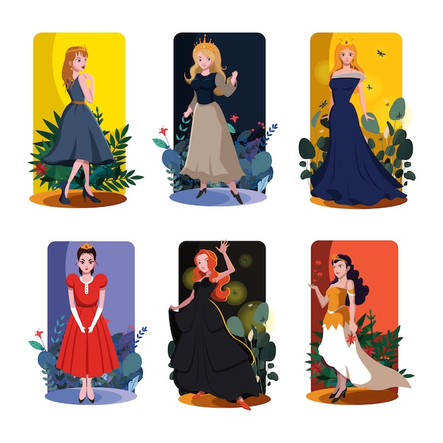 Princess card templates colored template vector Premium Vector
