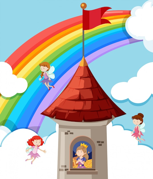 Princess in the castle Free Vector