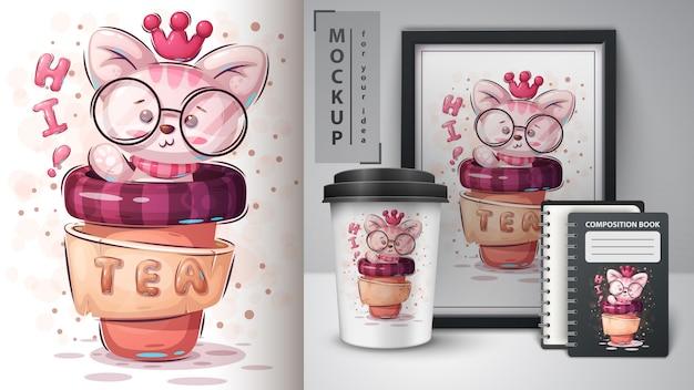 Princess cat merchandising Free Vector