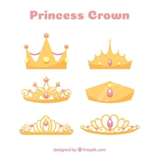 Princess crown collection with pink jewels Free Vector