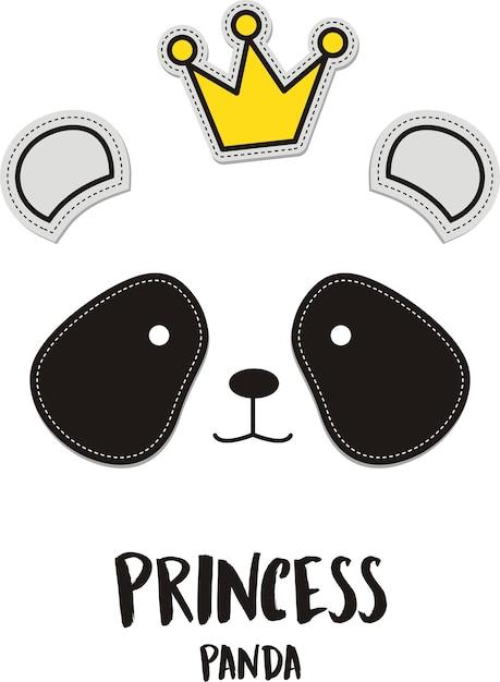 Princess, cute panda with crown Premium Vector