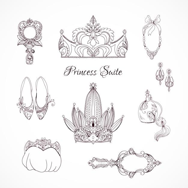 Princess design elements Free Vector
