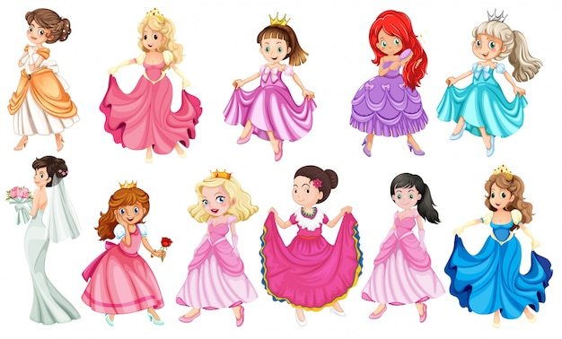 Princess in different beautiful dresses Free Vector