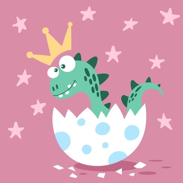Princess dino in the egg. Premium Vector