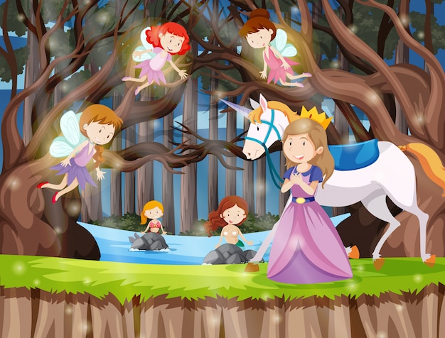Princess in the fantasy land Free Vector