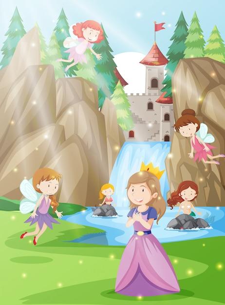 A princess in fantasy land Premium Vector