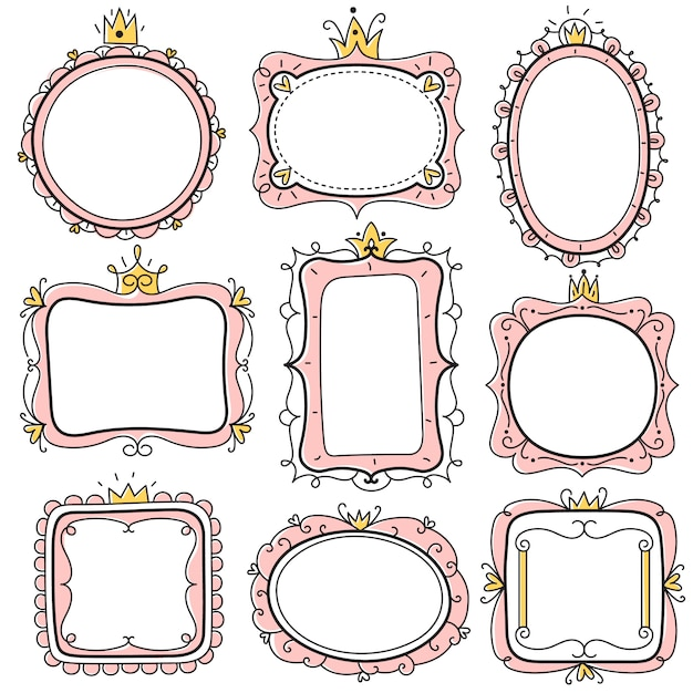 プリンセスフレーム。クラウン、子供の証明書の境界線とピンクのかわいい花のミラーフレーム。小さな女の子の誕生日の招待カードセット Premiumベクター
