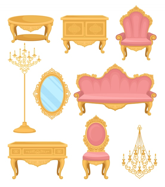 Princess furniture. collection decor elements for living room. Premium Vector