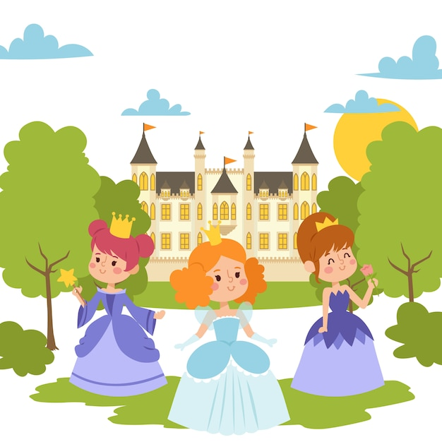 Princess girls in evening gowns elegant little female characters in flat style. fashionable ladies in dresses with crowns Premium Vector