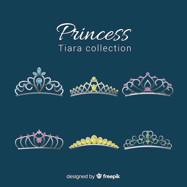 Princess golden and silver tiara pack Free Vector