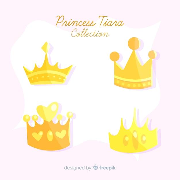 Princess golden tiara collection Free Vector