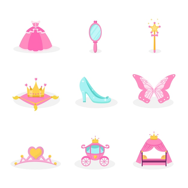 Princess items illustrations set. pink fairy tales icons collection. royal girl accessory symbols isolated design elements, dress, mirror, crown, tiara, carriage, shoe decorative stickers Premium Vector