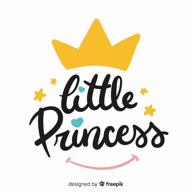 Princess lettering background with crown Free Vector