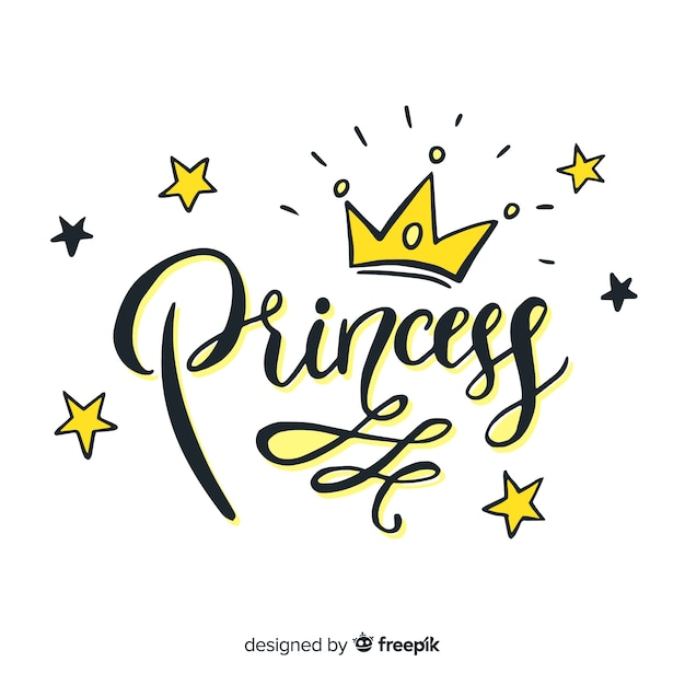 Princess lettering background Free Vector