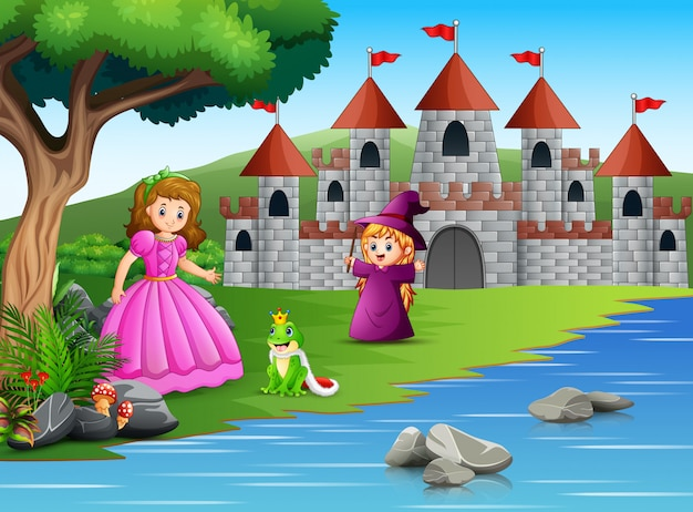 Princess, little witch and a frog prince on the nature Premium Vector