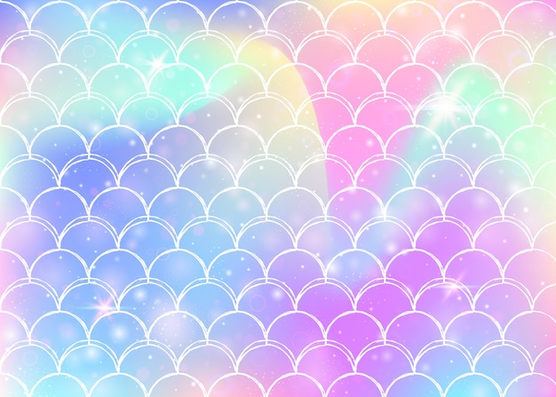 Princess mermaid background with kawaii rainbow scales pattern. Premium Vector