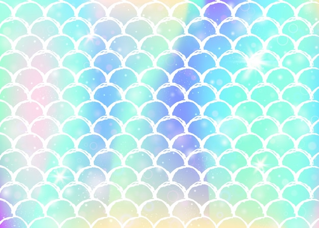 Princess mermaid background with kawaii rainbow scales. Premium Vector