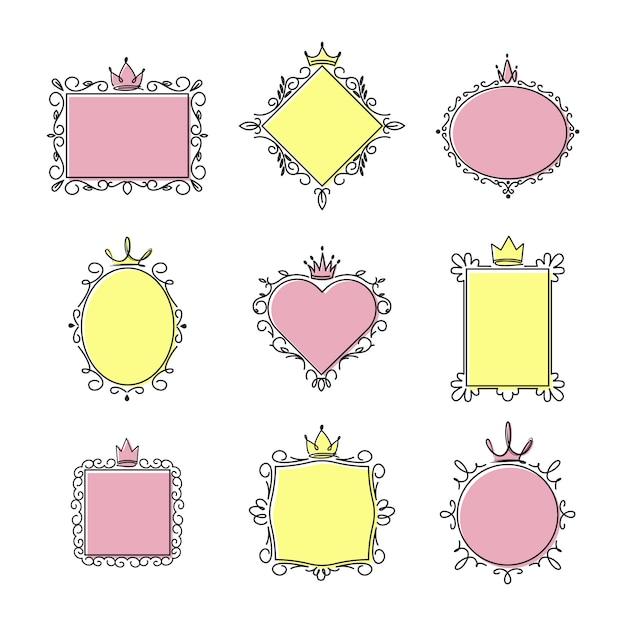 プリンセスミラーフレームセット 無料ベクター