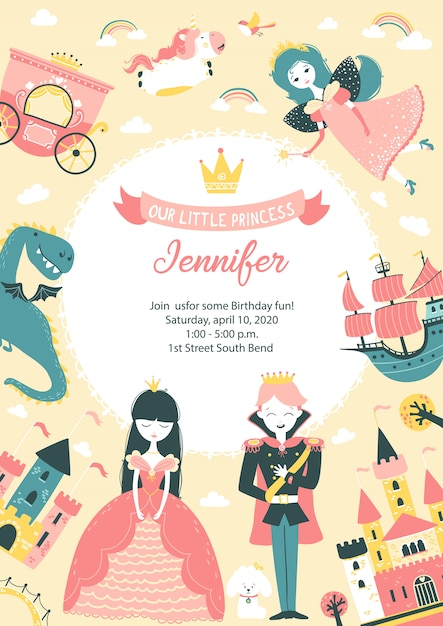 Princess party birthday invitation with template for text. cute vertical postcard, banner for baby girl with castle, prince, princess, fairy, unicorn, dog, dragon, crown Premium Vector
