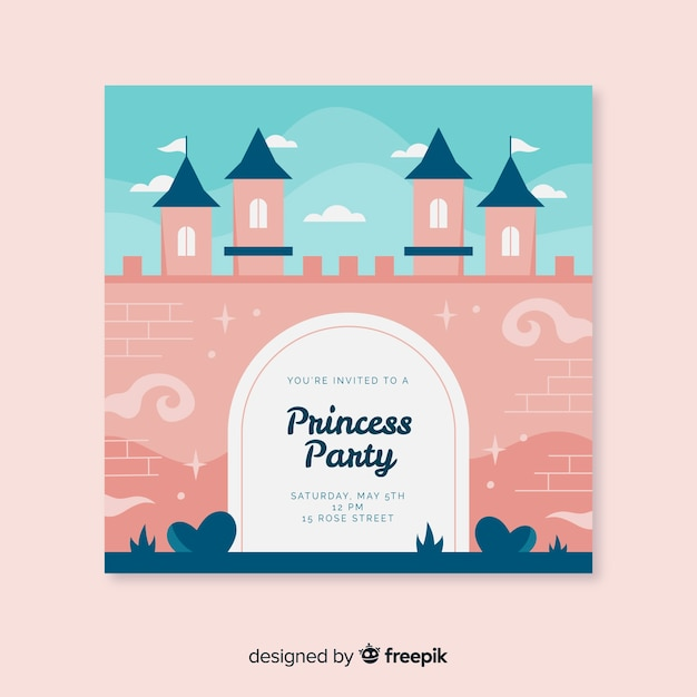 Princess party invitation Free Vector
