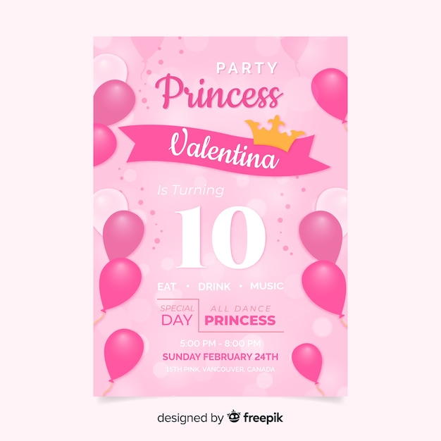 Princess party invitation Free Vector